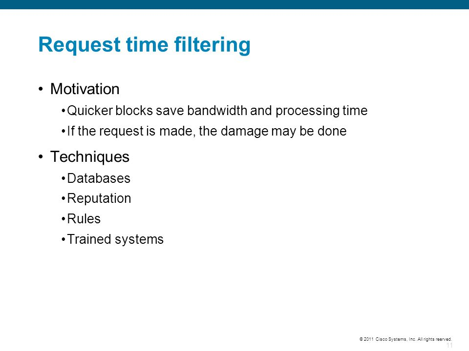 Request time filtering