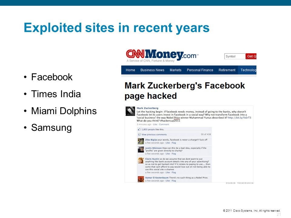 Exploited sites in recent years