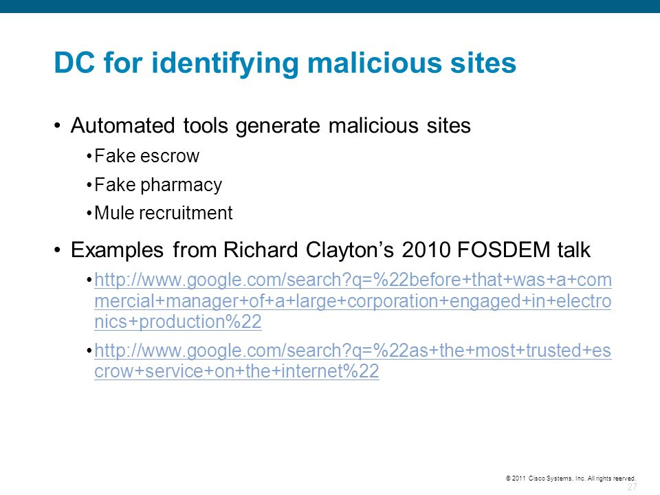 DC for identifying malicious sites
