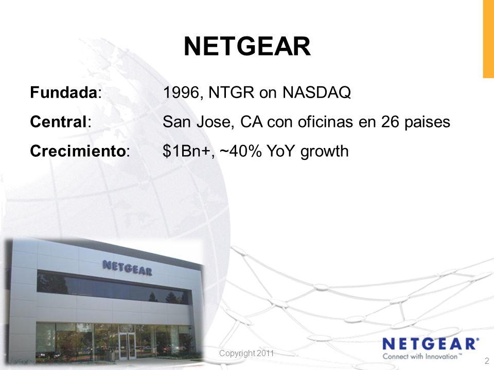 NETGEAR Fundada: 1996, NTGR on NASDAQ Central: San Jose, CA con oficinas en 26 paises Crecimiento: $1Bn+, ~40% YoY growth