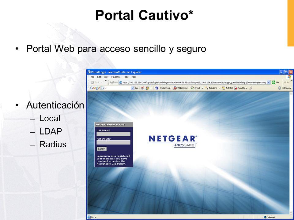 Portal Cautivo* Portal Web para acceso sencillo y seguro Autenticación