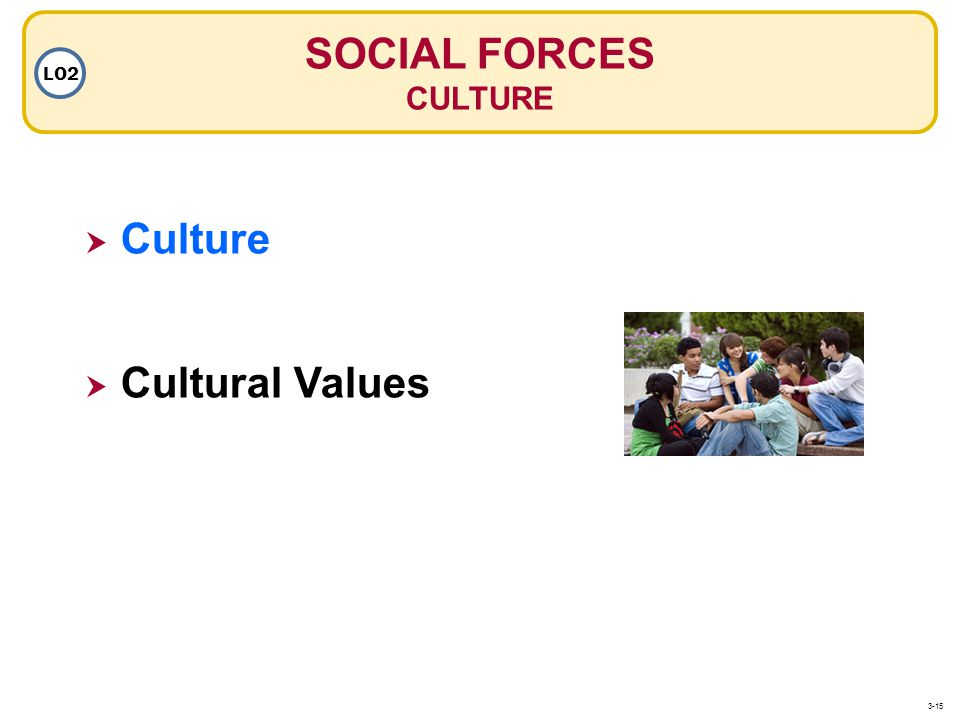 SOCIAL FORCES CULTURE LO2 Culture Cultural Values 3-15