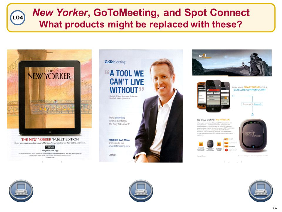 New Yorker, GoToMeeting, and Spot Connect What products might be replaced with these