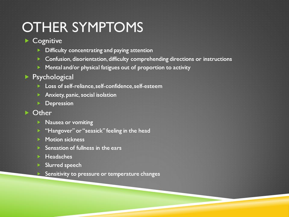 Other symptoms Cognitive Psychological Other