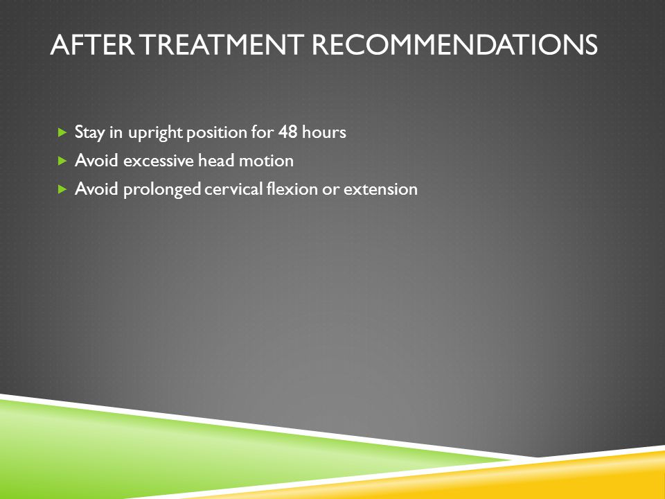 After treatment recommendations