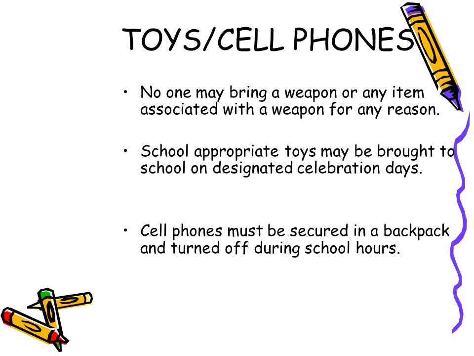 TOYS/CELL PHONES No one may bring a weapon or any item associated with a weapon for any reason.