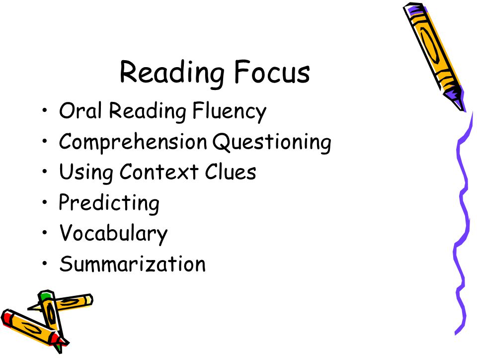 Reading Focus Oral Reading Fluency Comprehension Questioning