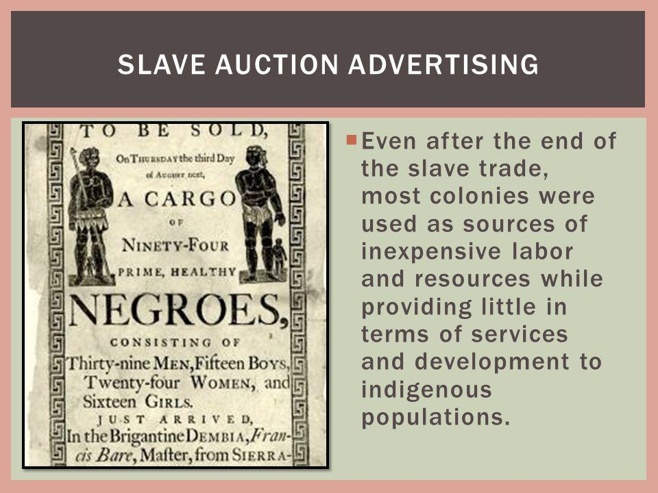 Slave auction advertising