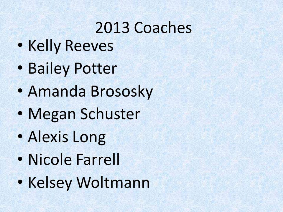 2013 Coaches Kelly Reeves. Bailey Potter. Amanda Brososky. Megan Schuster. Alexis Long. Nicole Farrell.
