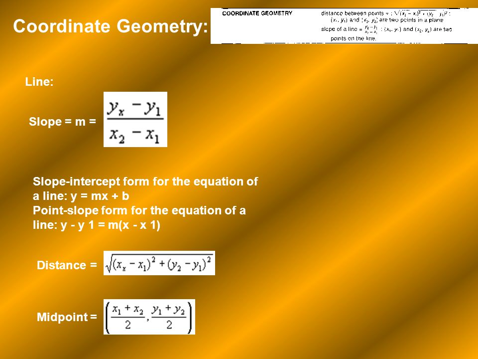 Coordinate Geometry: Line: Slope = m =