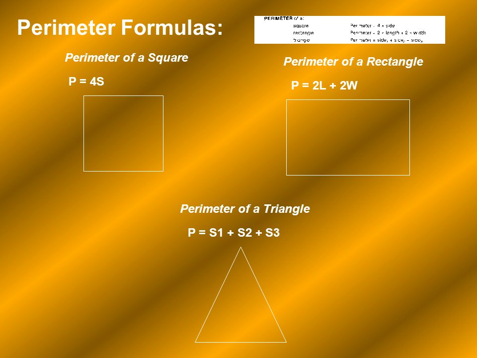 Perimeter Formulas: Perimeter of a Square Perimeter of a Rectangle