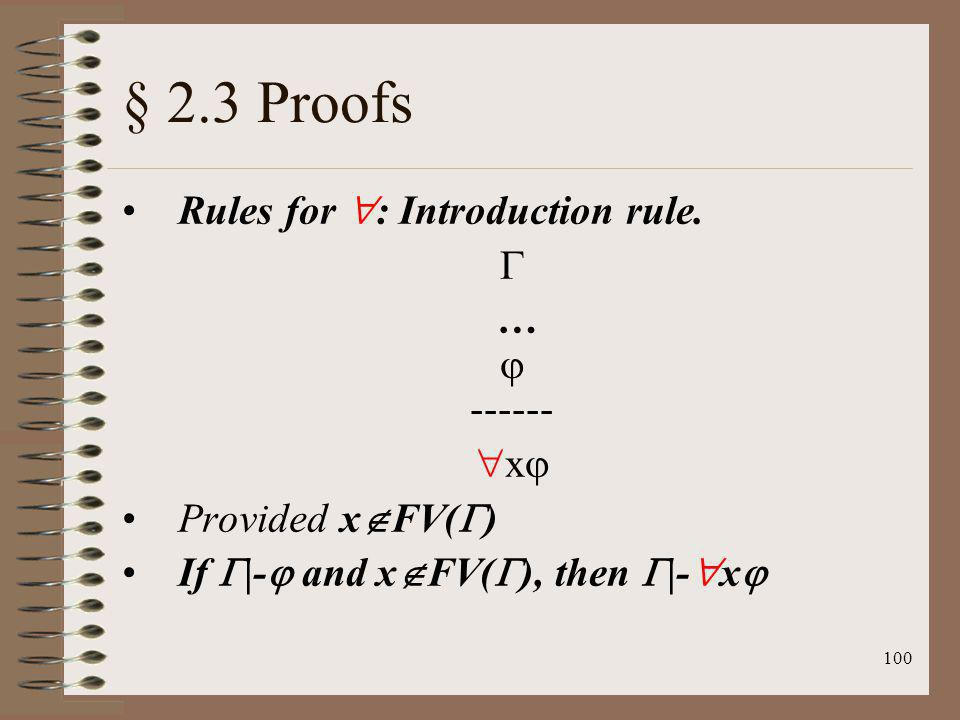 § 2.3 Proofs Rules for : Introduction rule.  …  ------ x