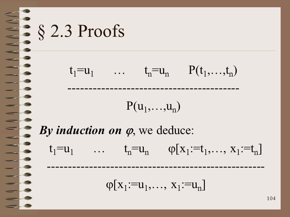§ 2.3 Proofs t1=u1 … tn=un P(t1,…,tn)