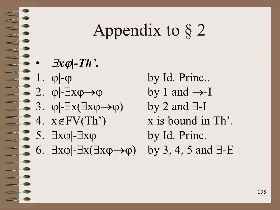Appendix to § 2 x|-Th'. |- by Id. Princ.. |-x by 1 and -I