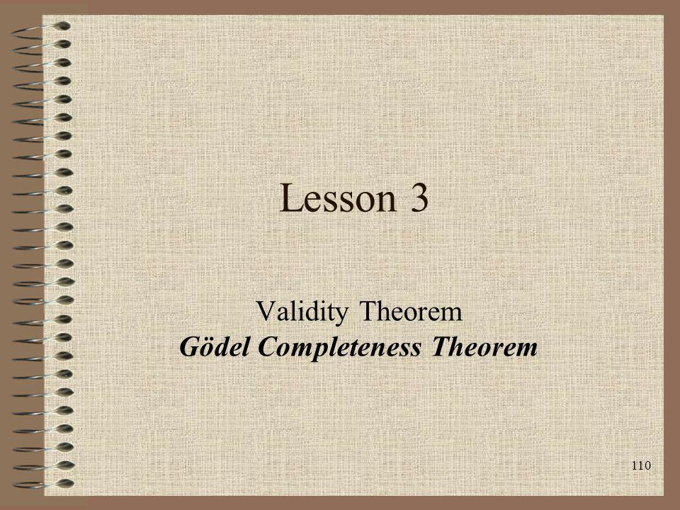 Validity Theorem Gödel Completeness Theorem
