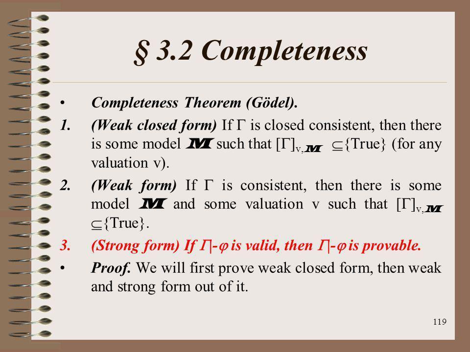 § 3.2 Completeness Completeness Theorem (Gödel).