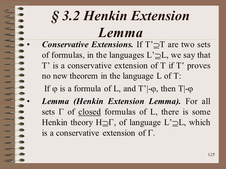 § 3.2 Henkin Extension Lemma