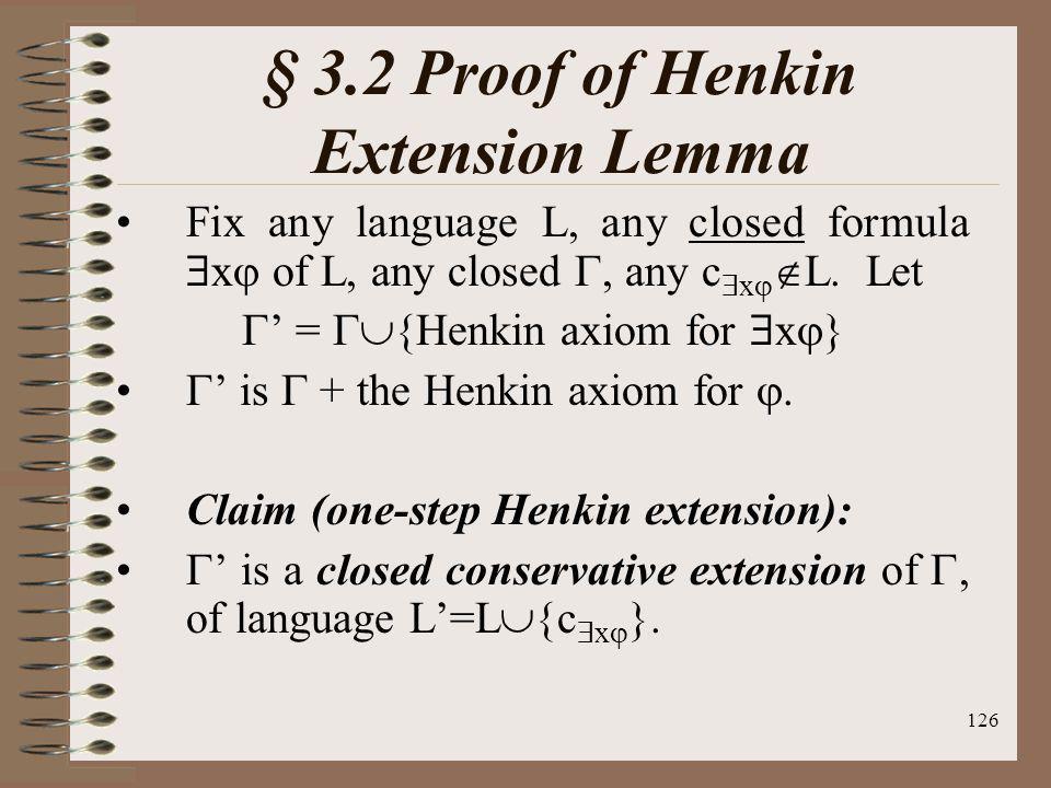 § 3.2 Proof of Henkin Extension Lemma