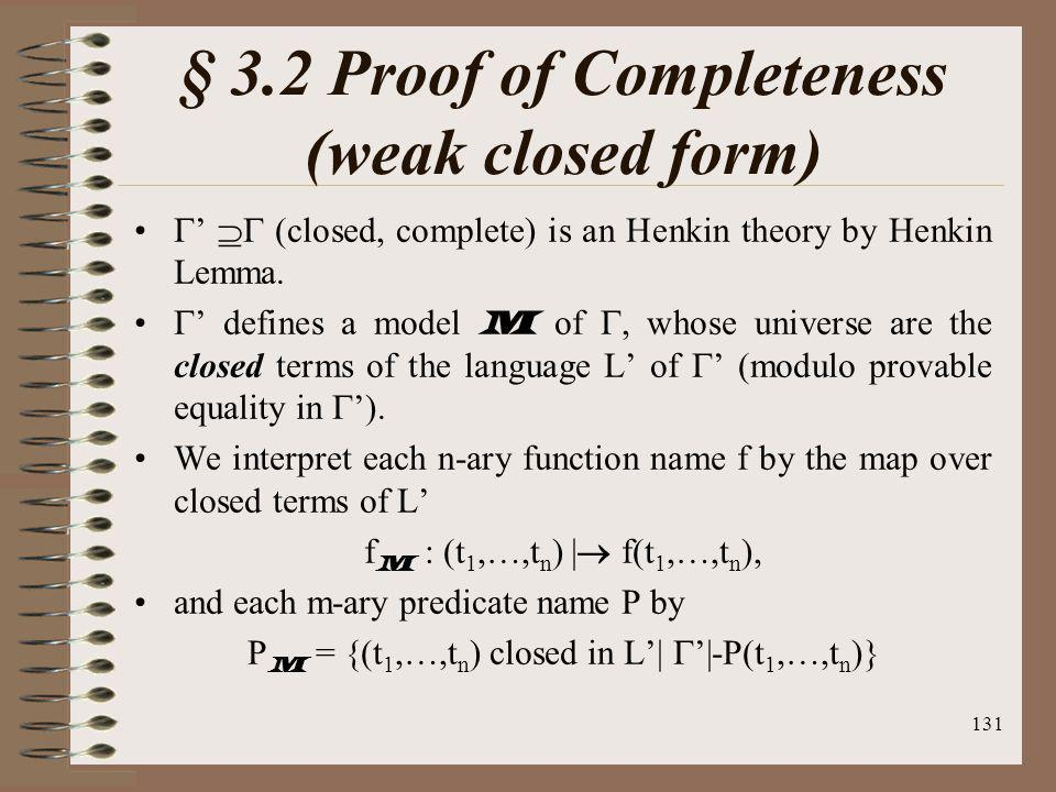 § 3.2 Proof of Completeness (weak closed form)