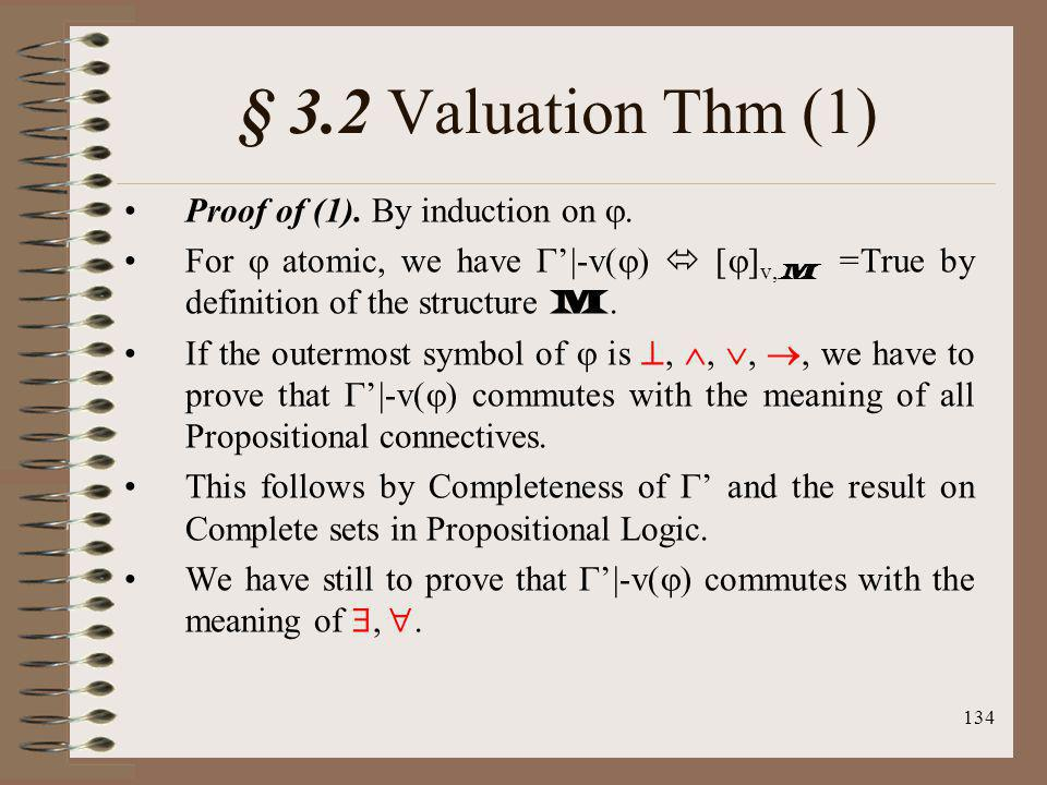 § 3.2 Valuation Thm (1) Proof of (1). By induction on .
