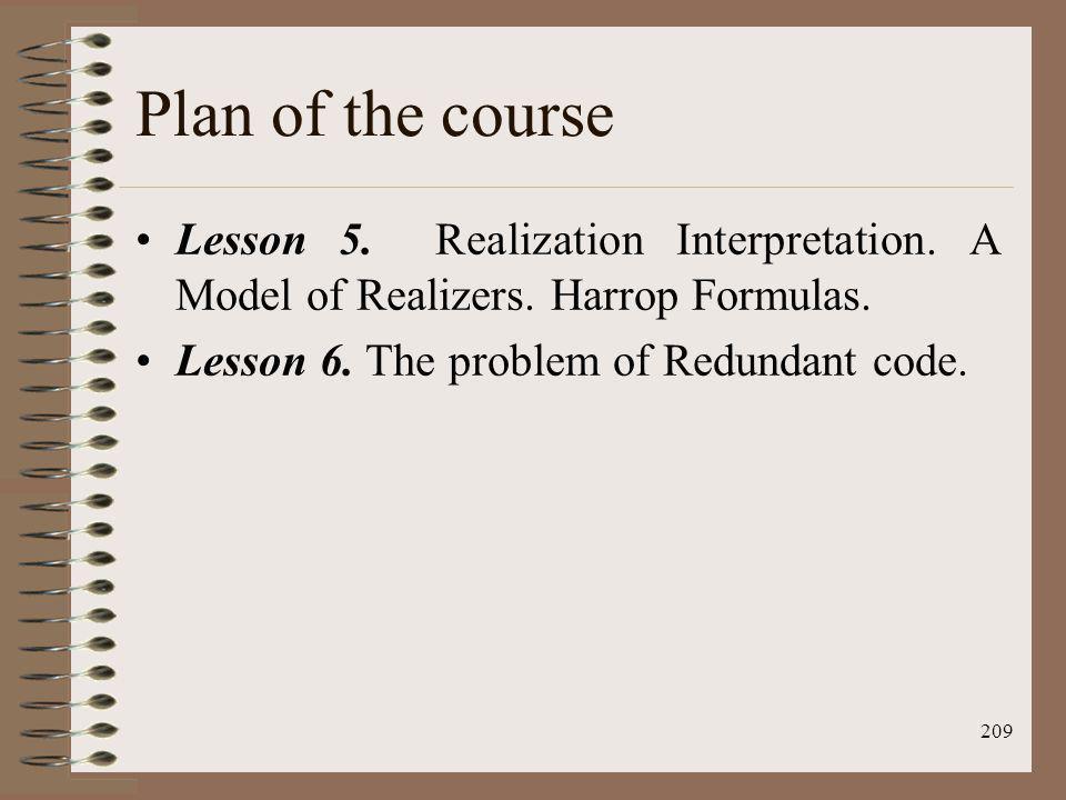 Plan of the course Lesson 5. Realization Interpretation.