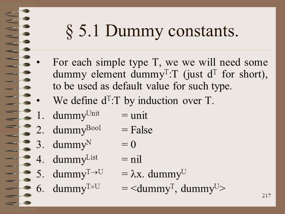 § 5.1 Dummy constants.