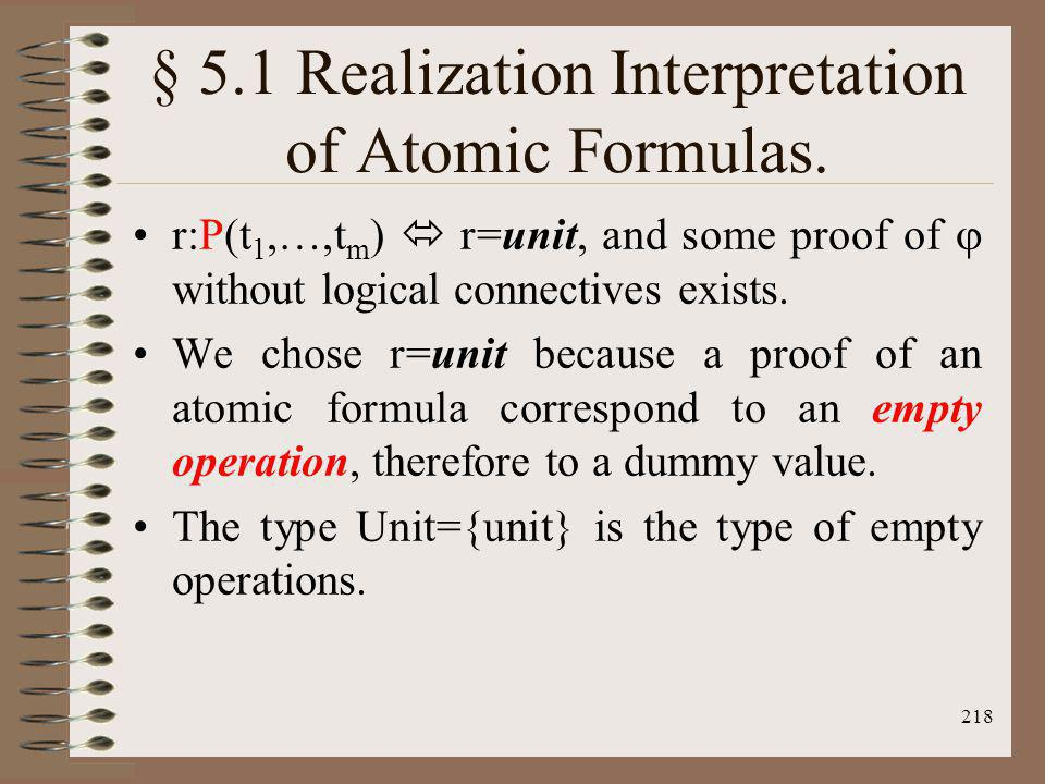 § 5.1 Realization Interpretation of Atomic Formulas.