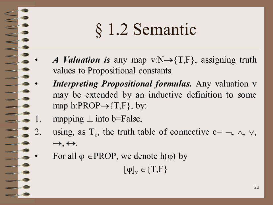 § 1.2 Semantic A Valuation is any map v:N{T,F}, assigning truth values to Propositional constants.