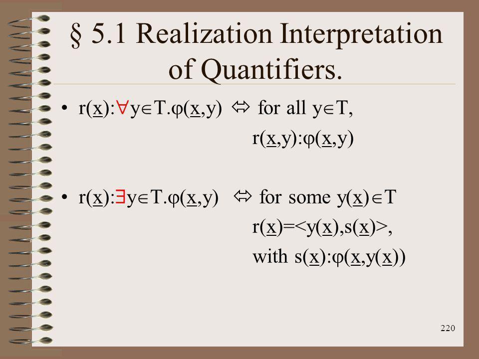 § 5.1 Realization Interpretation of Quantifiers.