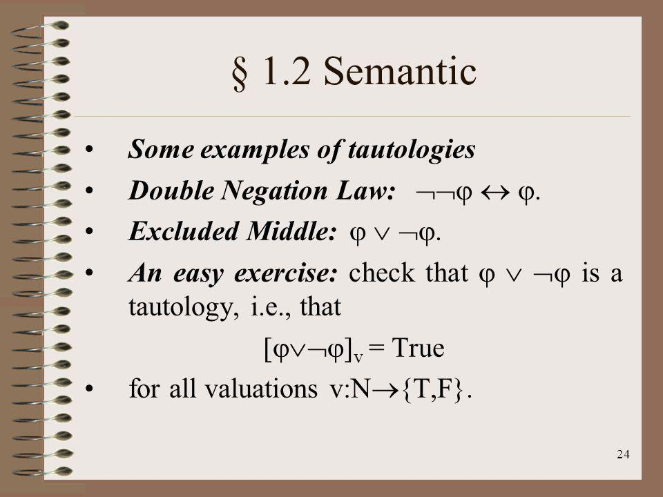 § 1.2 Semantic Some examples of tautologies