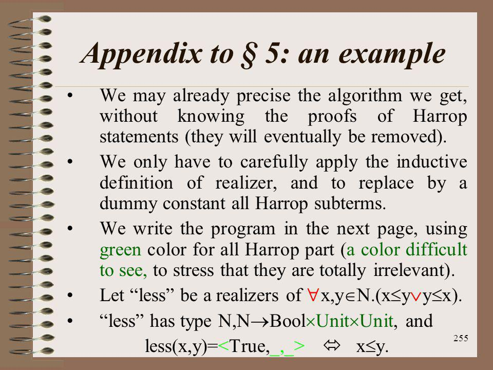 Appendix to § 5: an example