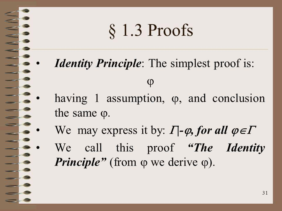 § 1.3 Proofs Identity Principle: The simplest proof is: 