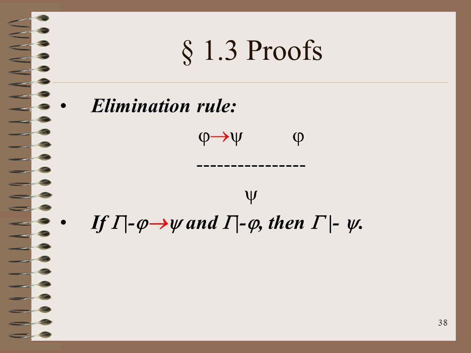 § 1.3 Proofs Elimination rule:   ---------------- 