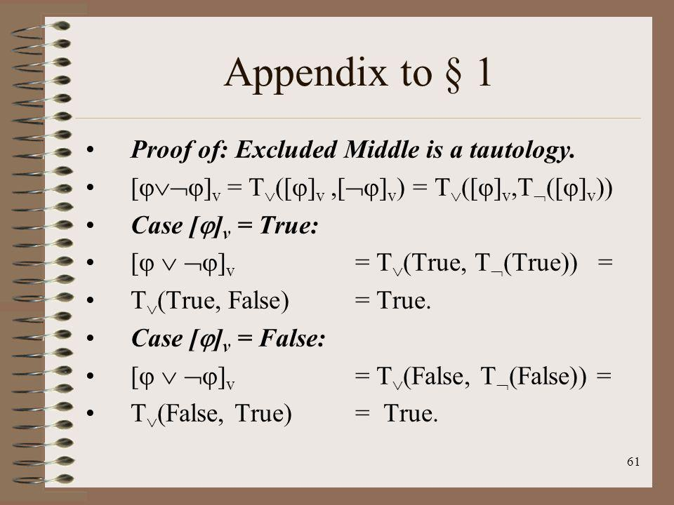Appendix to § 1 Proof of: Excluded Middle is a tautology.