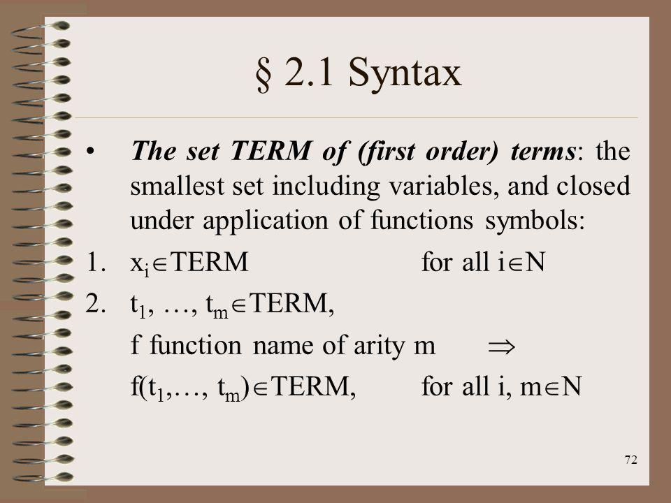 § 2.1 Syntax The set TERM of (first order) terms: the smallest set including variables, and closed under application of functions symbols: