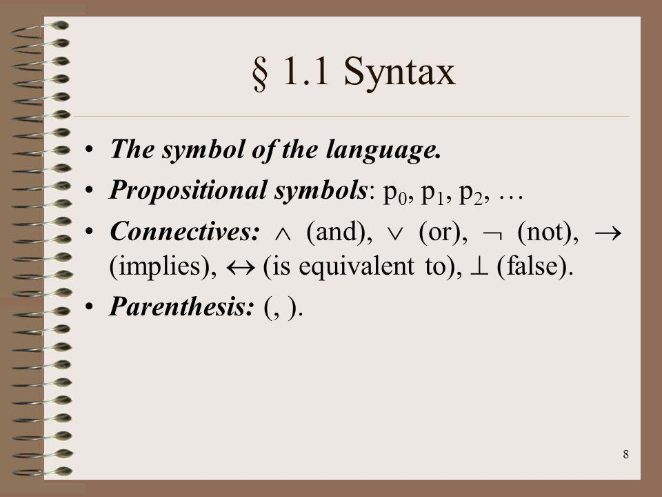 § 1.1 Syntax The symbol of the language.