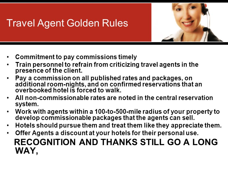 Travel Agent Golden Rules