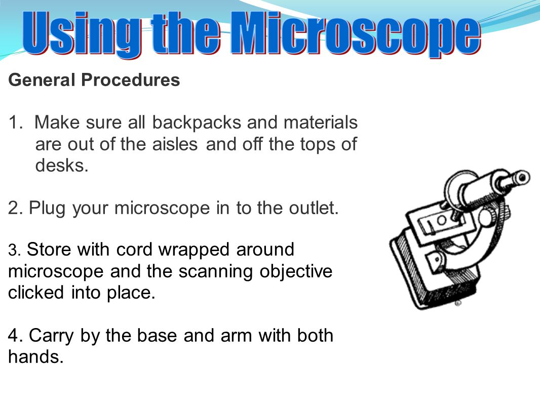 2. Plug your microscope in to the outlet.