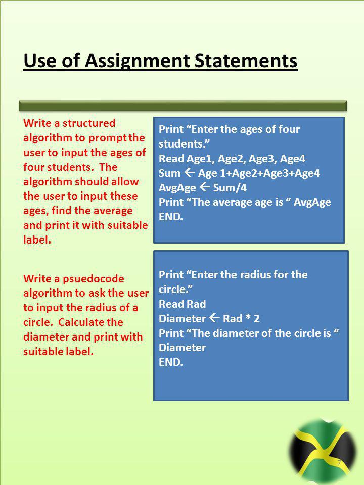 Use of Assignment Statements