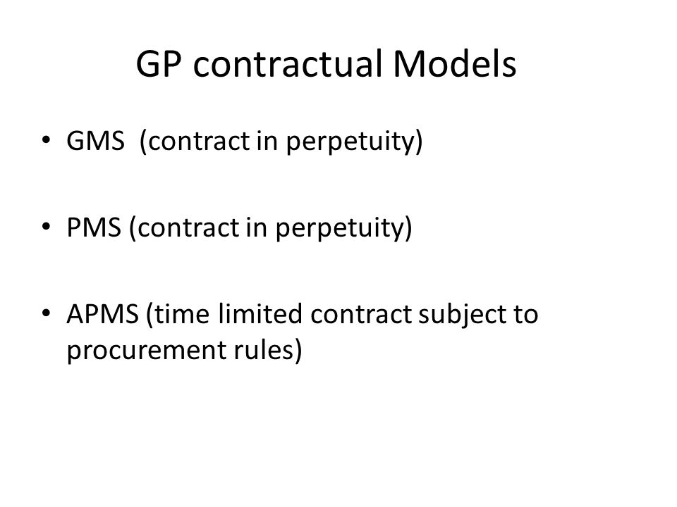 GP contractual Models GMS (contract in perpetuity)