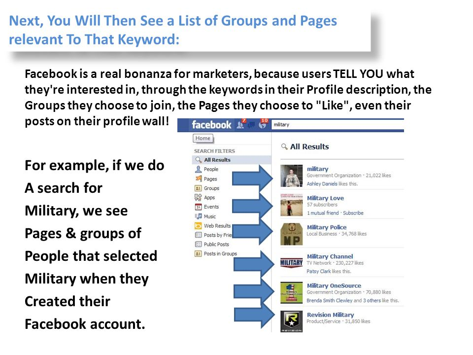 Next, You Will Then See a List of Groups and Pages relevant To That Keyword: