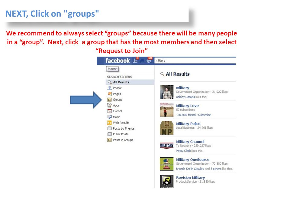NEXT, Click on groups