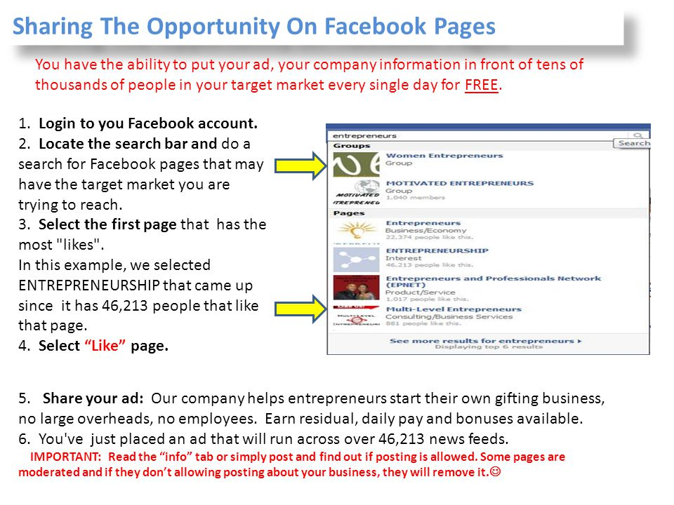 Sharing The Opportunity On Facebook Pages