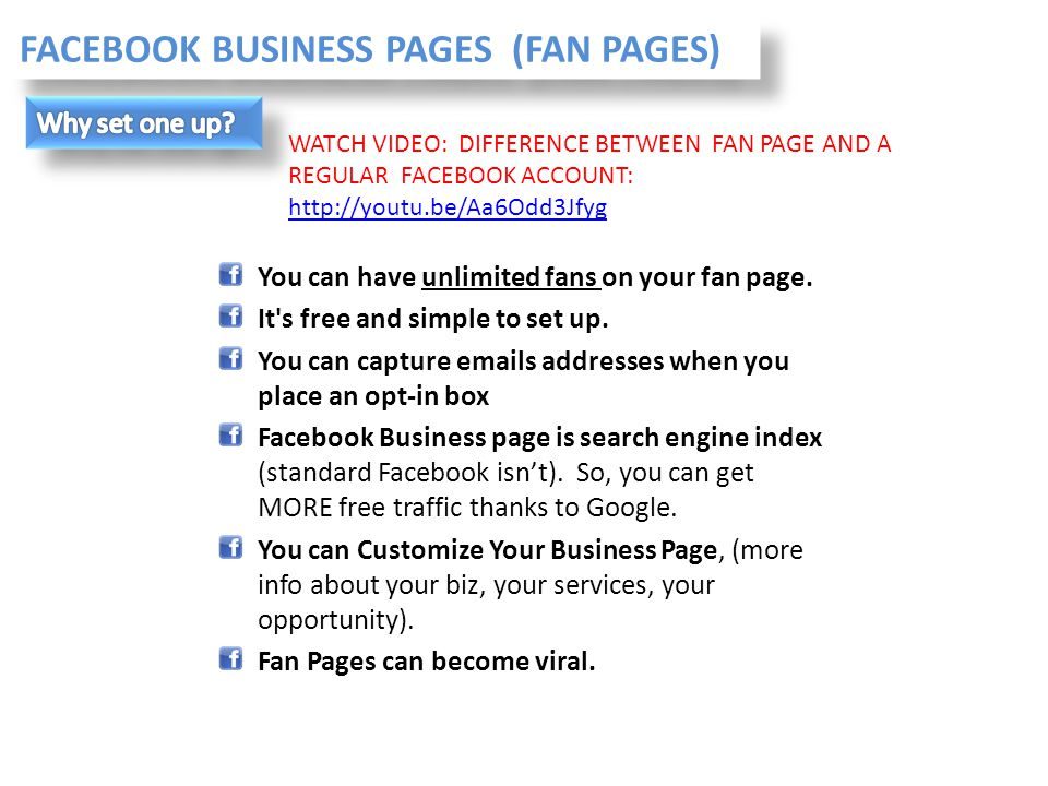 FACEBOOK BUSINESS PAGES (FAN PAGES)