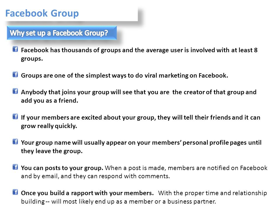 Facebook Group Why set up a Facebook Group