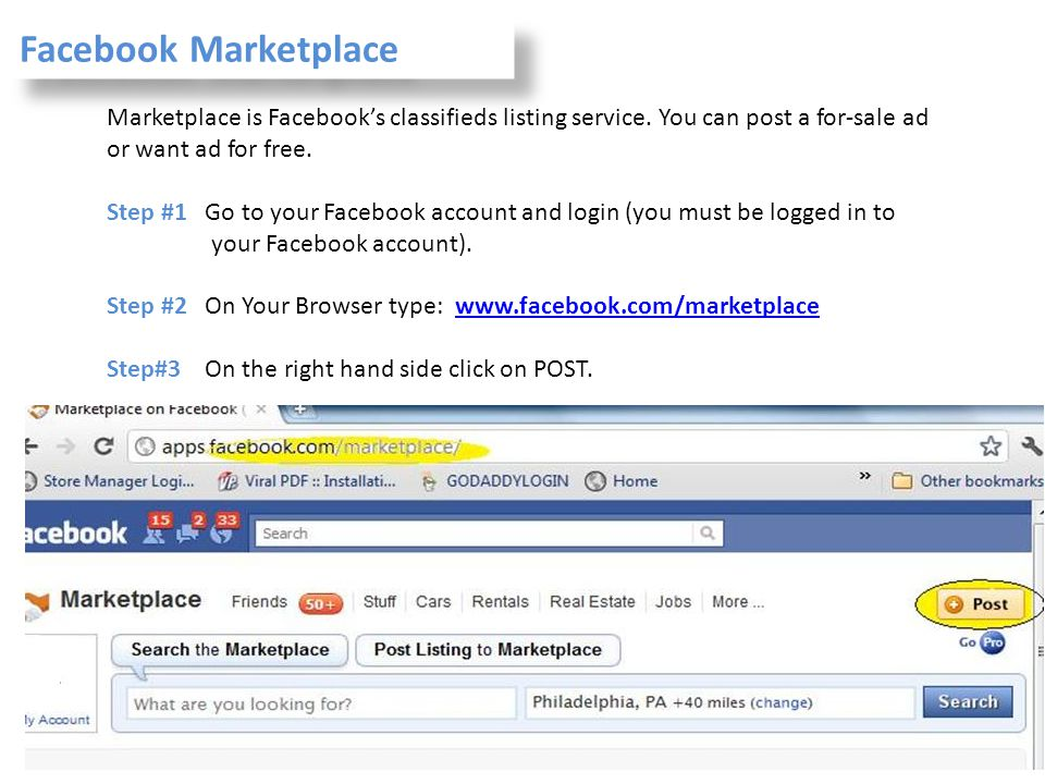Facebook Marketplace Marketplace is Facebook's classifieds listing service. You can post a for-sale ad or want ad for free.
