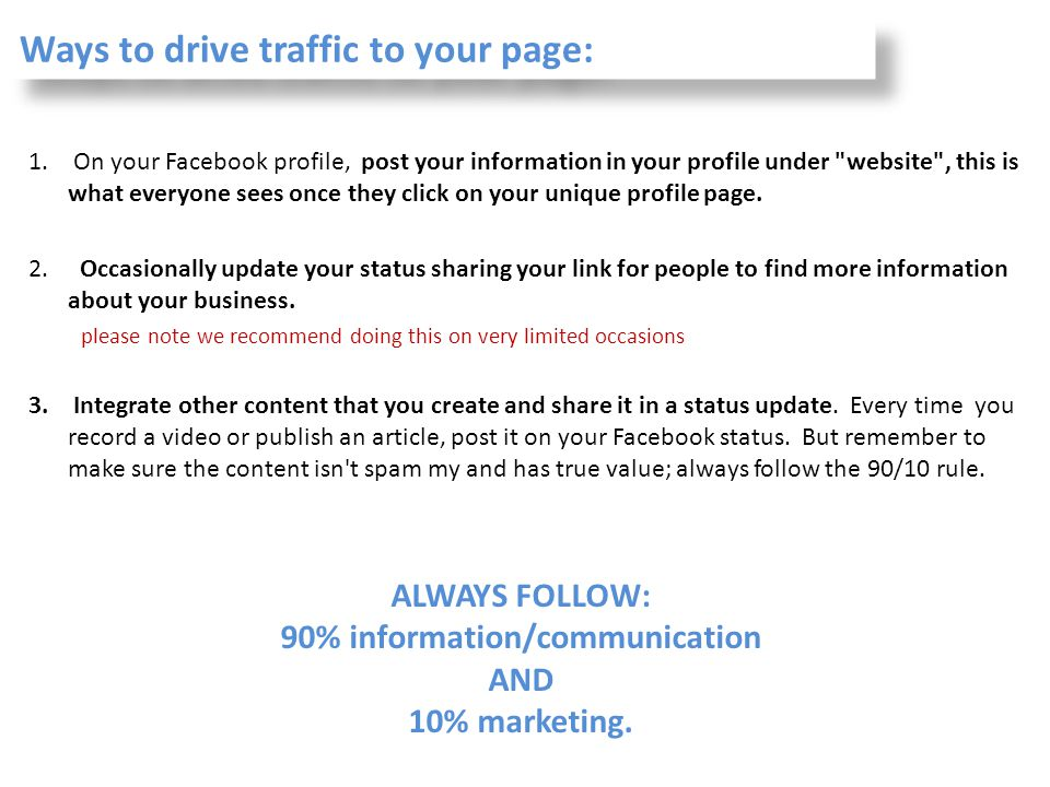 Ways to drive traffic to your page: