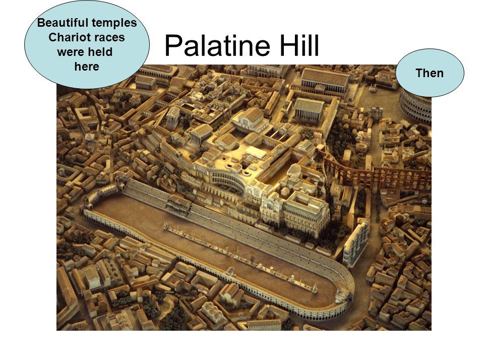 Beautiful temples Chariot races were held here Palatine Hill Then