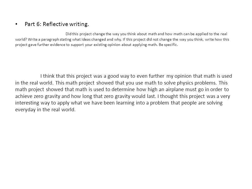 Part 6: Reflective writing.