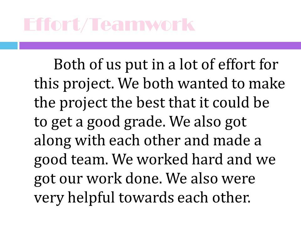 Effort/Teamwork